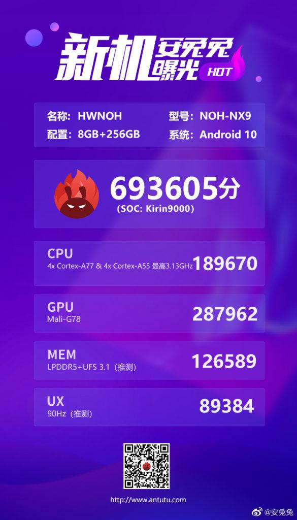 Huawei Mate 40 Pro with Kirin 9000 5G at AnTuTu