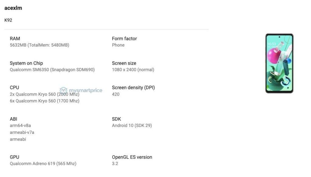 LG K92 5G Google Play Console listing