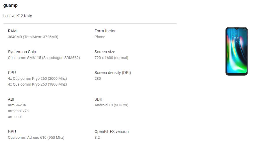 Lenovo K12 Note Google Play Console