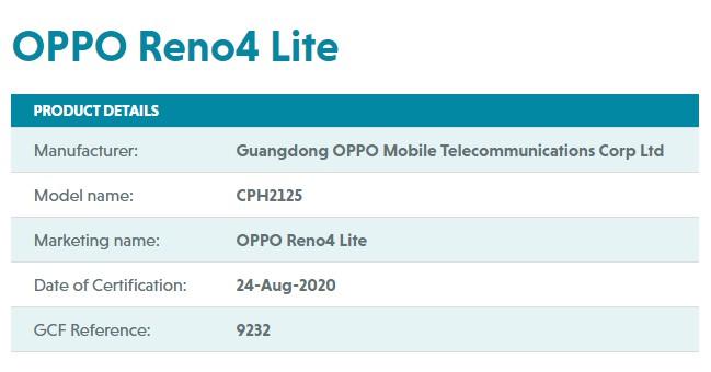 OPPO Reno4 Lite GCF Certified