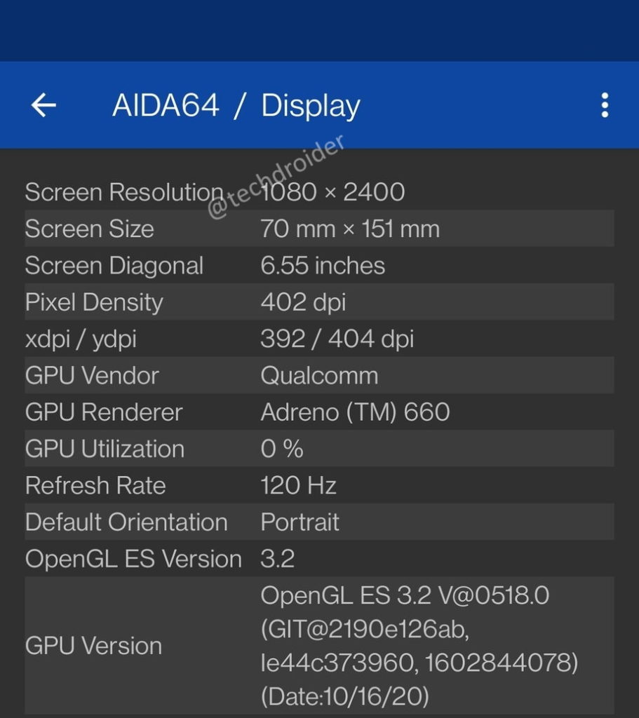 OnePlus 9 AIDA64 screenshot