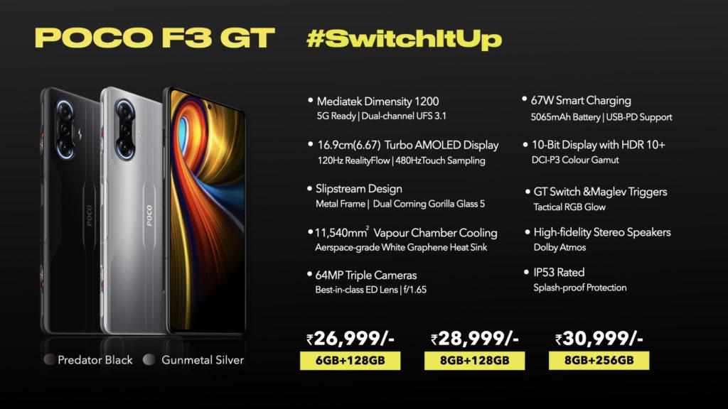 POCO F3 GT Pricing & Specs