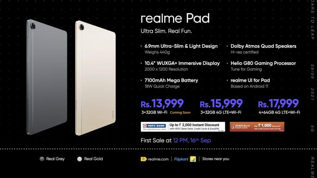 Realme Pad Pricing
