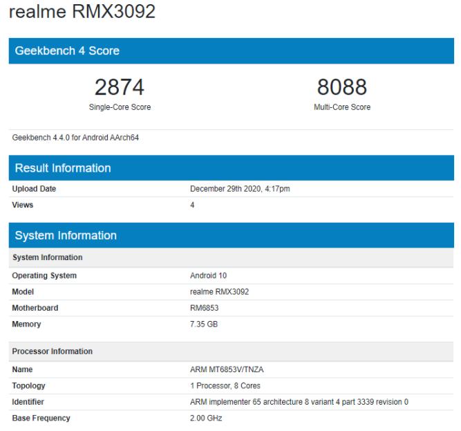 Realme RMX3092 Geekbench