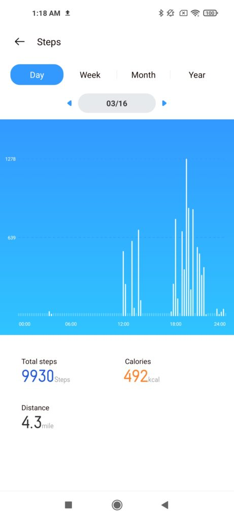 Realme Watch S Pro Steps Record
