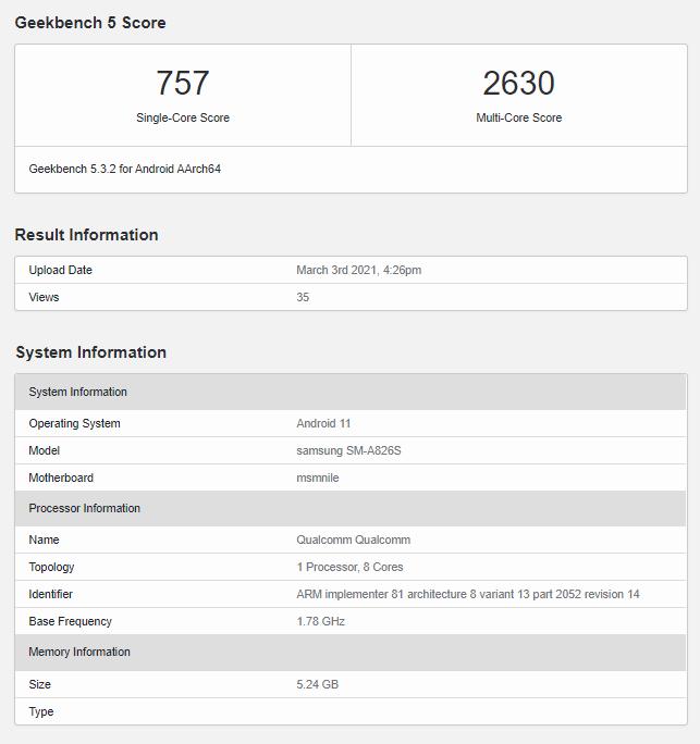 Samsung Galaxy A82 5G Geekbench
