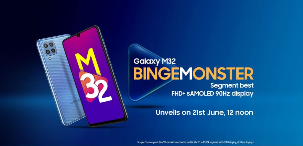 Samsung Galaxy M32 launch date poster