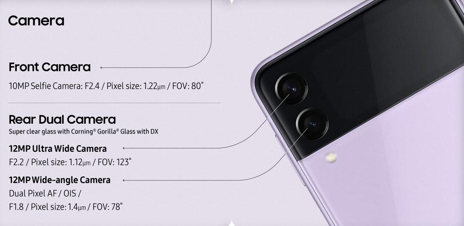 Samsung Galaxy Z Flip3 5G Camera Specs