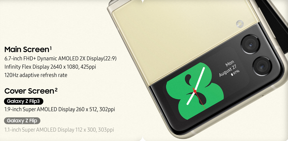 Samsung Galaxy Z Flip3 5G Display Specs