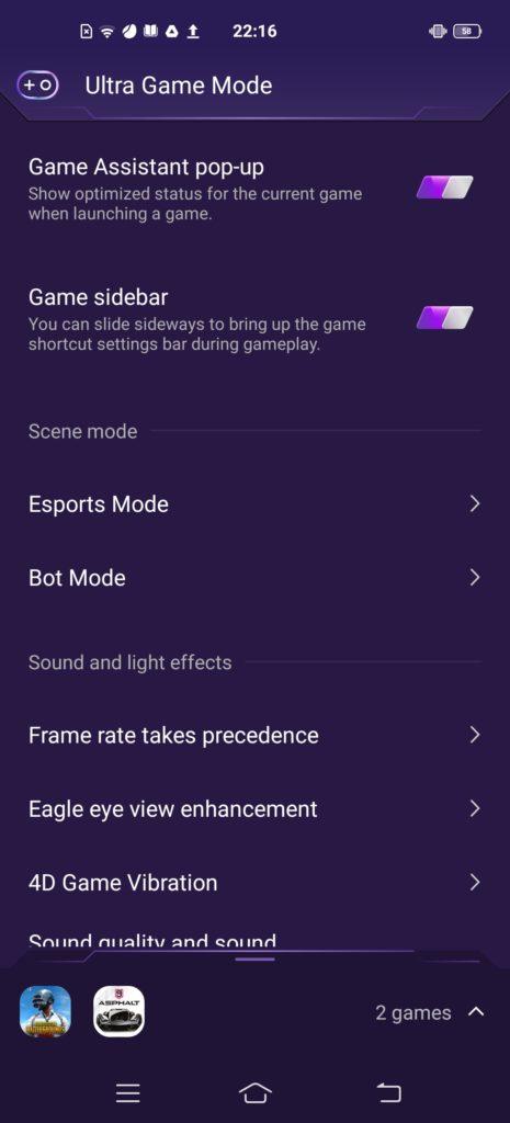 Vivo Ultra Game Mode