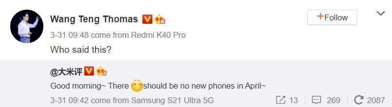 Redmi gaming phone's April launch hinted