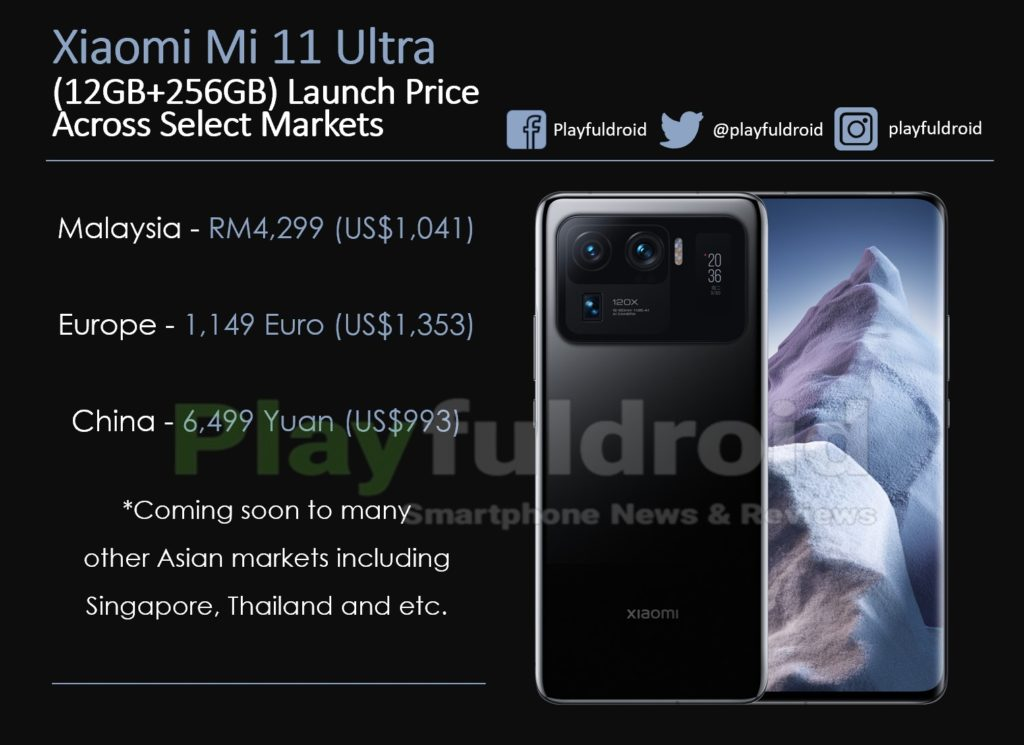 Xiaomi Mi 11 Ultra Pricing Across Select Markets